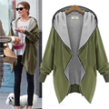 Plus size 5XL Mulheres fino casacos outerwear capuz zipper-up tops hoddies moletons feminino longo-luva verde do exército casacos jaqueta