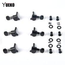 YUEKO negro 6 unids/set Eléctrico Acústica guitarra clavijas de afinación sintonizador Machine Heads accesorios para guitarra