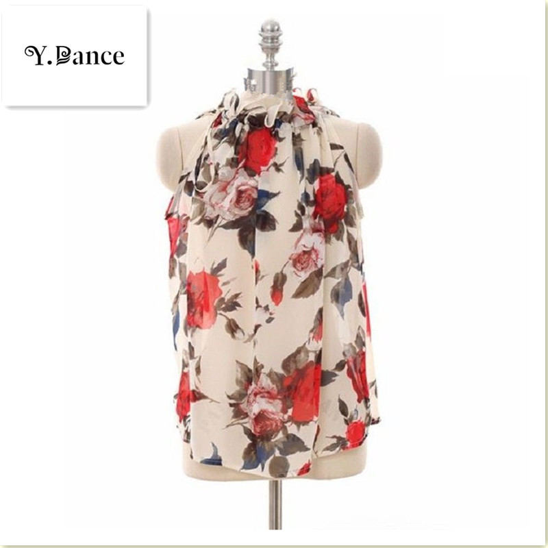 Sell like hot cakes Summer Clothing Floral Chiffon Halter Sexy Strapless Women Tops Loose Sleeveless Shirt Wild Casual Womens