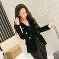 2016 Новая Коллекция Весна Мода Женщины Полночь Вмс Тонкий Бархатный Пиджак, Куртка Двойной Брестед Простой Леди Блейзеры Высокого Класса ПР Одежда