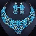 2016 Luxuoso Casamento De Cristal conjuntos de jóias de moda de Nova Strass Colar set para As Mulheres Africano contas conjunto de jóias