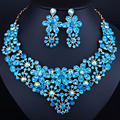 2016 Luxurious Crystal Wedding jewelry sets New fashion Rhinestone Necklace set for Women African beads Jewelry sets