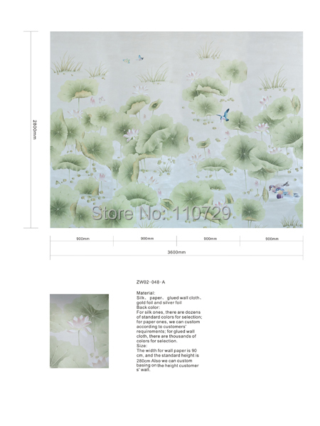 Hand-painted wallpaper pastoral painting lotus flowers with birds HAND-PAINTED silk wallcovering many pictures and backgrounds iarts aha072962 hand painted thick texture of knife painting trees oil painting red 60 x 40cm