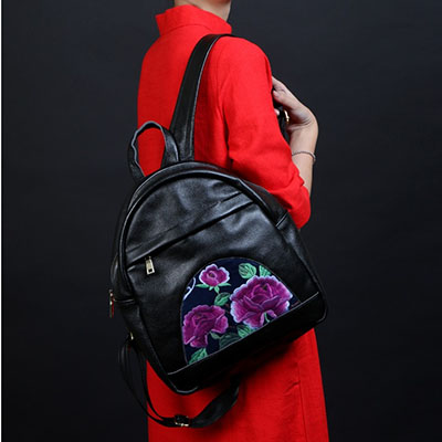 New spring 2017 Women cowskin Leather Embroidery Backpack School Bags Luxury Design floral Backpacks For Lady Mochila Escolar children school bag minecraft cartoon backpack pupils printing school bags hot game backpacks for boys and girls mochila escolar
