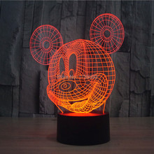 Glowing 7 Color Changing Cartoon Mickey Mouse 3D Acrylic LED Night Light USB LED Decorative Table Lamp Baby Desk Lighting