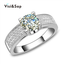 Vissap NEW White Gold Plated Jewelry wedding Ring Set for women vintage bague engagement bijoux Accessories Wholesale VSR137