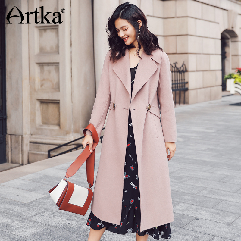 ARTKA 2018 New City Series Autumn&Winter 100% Wool Double-Side Knee-length long Coat FA10371D