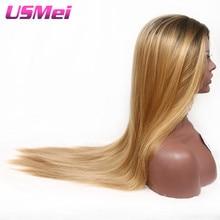 USMEI 30 tum långa raka svarta rötter ombre peruk blonda bruna syntetiska inga spets peruk värmebeständig fiber för svarta kvinnor