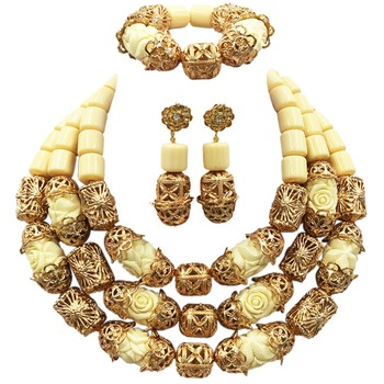 Fashion Chunky Bridal Jewelry Sets Indian Wedding Coral Necklace Earrings Set Dubai White Artificial Coral Jewelry Set ACB-34