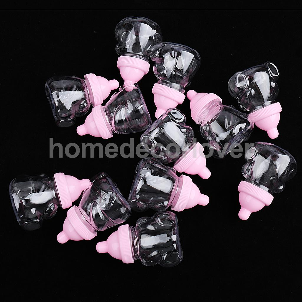 12x Pink Feeding Bottle Candy Boxes Baby Shower Wedding Favors Gift Boxes