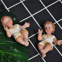 Resin Religious Nativity Figurine Manger Group Little Baby Jesus Baby Doll Christmas Church Friendship Gift(China)