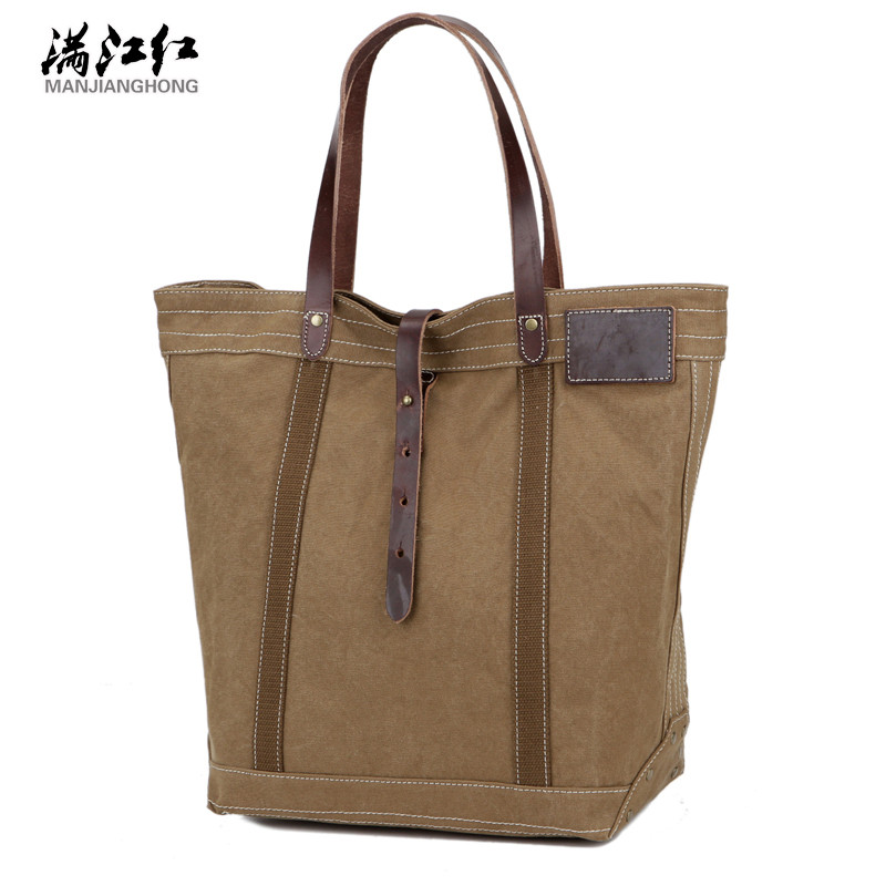 2016 Crazy Horse Leather Canvas Handbag Big Pocket Single Shoulder Bag Bag Shopping Bag B101