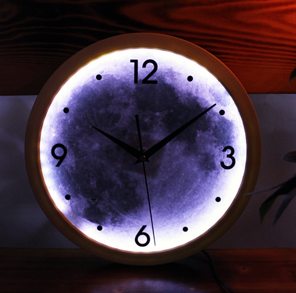Led light creative design digital art wall clock moon fashion led light creative design digital art wall clock moon fashion round wall clock silent non ticking wall clock in wall clocks from home garden on amipublicfo Gallery