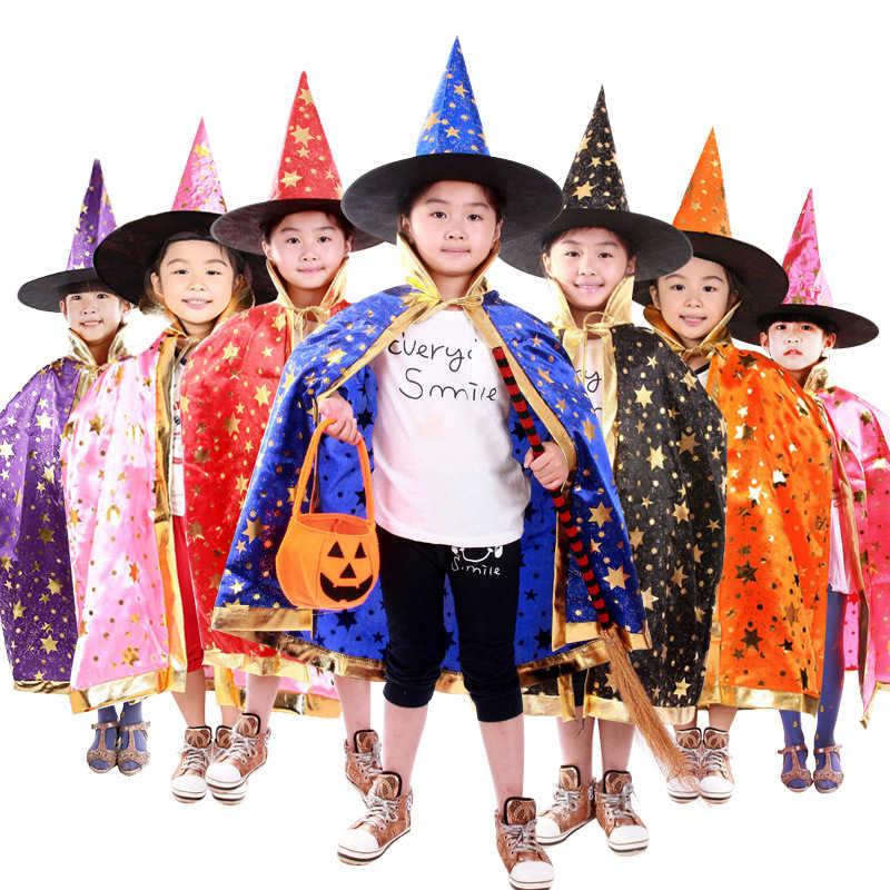 גלימות גלימות ביצועים מופע במה קוסם ליל כל הקדושים קוספליי המכשפה ילדים שמלות עם כובע מסיבת ליל כל הקדושים ערפד מכשפה ילד