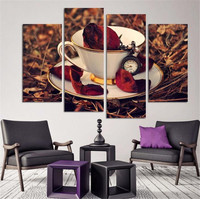 Hot kitchen 4 piece canvas wall art Modern Nostalgic coffee flower Painting Home Art Picture Paint on Canvas Prints decor