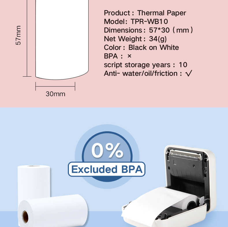 Issyzonepos Thermal Kertas Foto Bisa Tinggal Selama 10 Tahun untuk IMP028 57 Mm X 30 Mm 3 Gulungan Per Paket