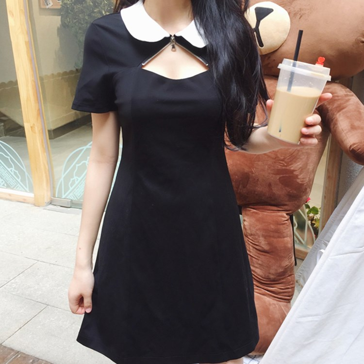 dbbd4214083 2018 Gothic Hollow Out Pentagram Summer Women Goth Peter Pan Collar Black Pink  Dress Witch Dark Preppy Style Gothics Dresses