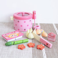 Kids Kitchen Toys Strawberry Simulation Vegetable Hot Pot Children Kitchen Prentend Play Food Set Wooden Toy for Girls Gift