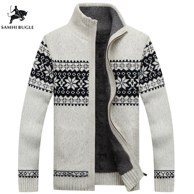 Winter Men's Cardigan 2019 New Men's Casual Sweaters Warm Plus Velvet Men's Zipper Cardigan Knitted Stand Collar Sweaters