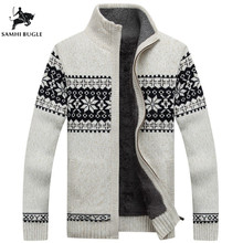Winter Mens Cardigan 2018 New Men's Casual Sweaters Warm Plus velvet Zipper Men Cardigan Stand Collar Knitted Sweaters