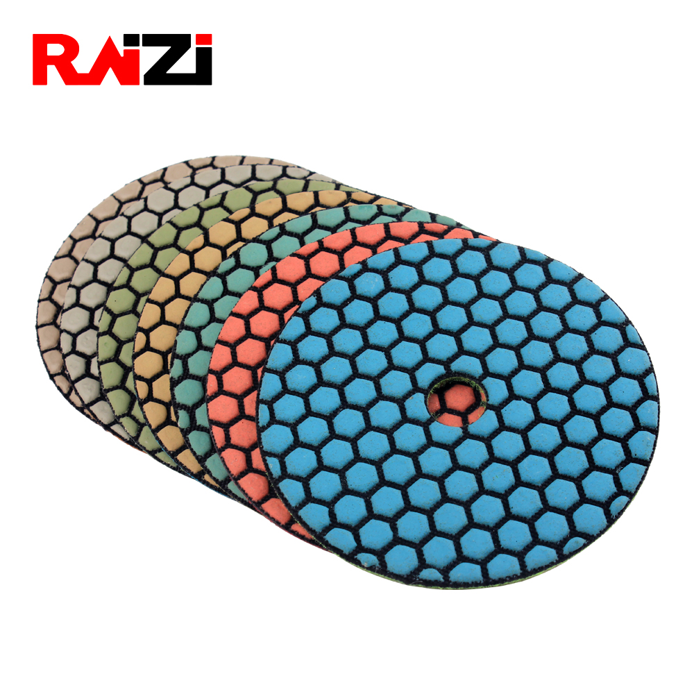 Raizi 4, 5 Inch Diamond Dry Polishing Pads For Concrete Granite Marble Grit 50-3000 Flexible Stone Polishing Sanding Pads