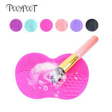 Pooypoot Makeup Brush Cleaner Mat Silicone Washing Make Up Scrubber Board Cosmetic Brushes Cleaning Tools 6 Colors