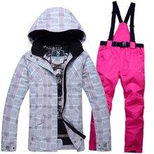 Thickening sportswear women ski suit waterproof windproof winter warm ski jacket + ski pants with female skiing jackets