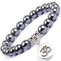 Natural negro cuentas de piedra y hematita pulseras brazaletes mujeres OM Charm Buda brazalete Hombres Pulsera joyería Pulsera Hombres