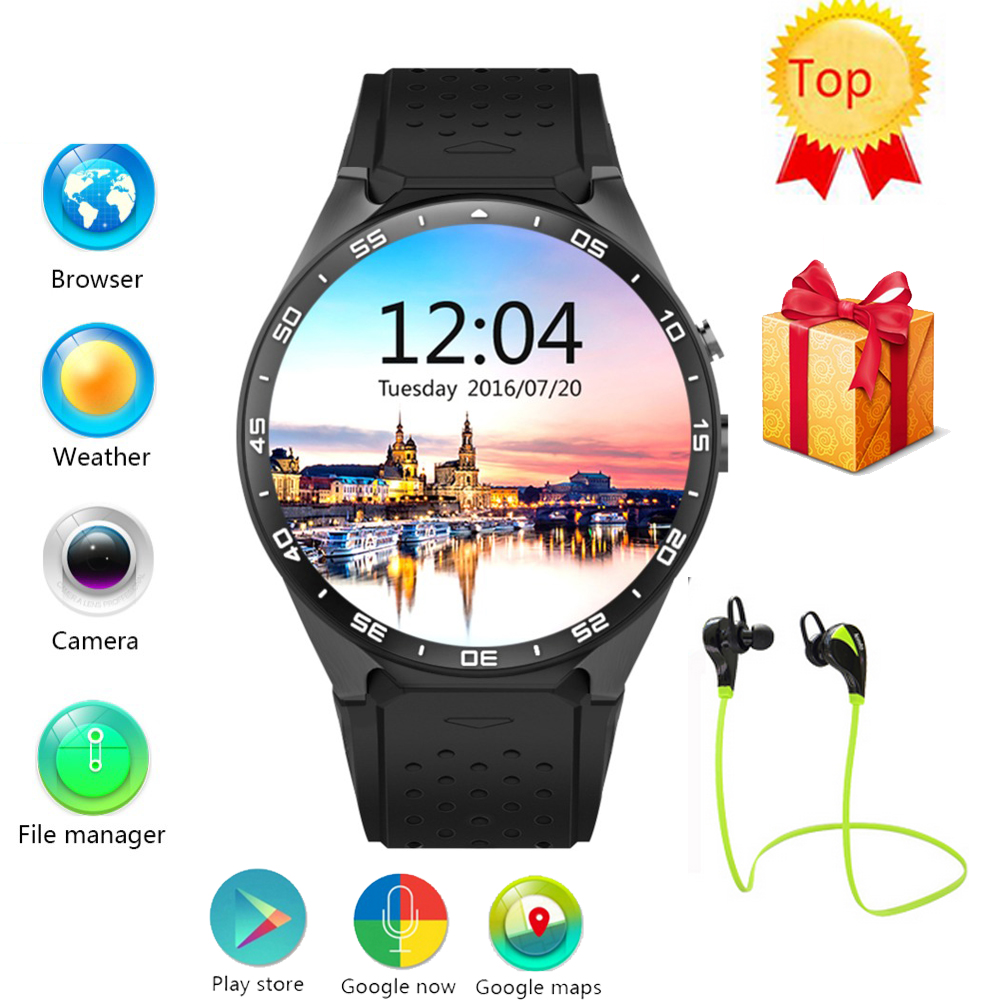 imágenes para Kingwear kw88 smart watch phone android 5.1 os cpu 1.39 pulgadas pantalla 2.0mp cámara 3g wifi gps smartwatch para apple moto huawei