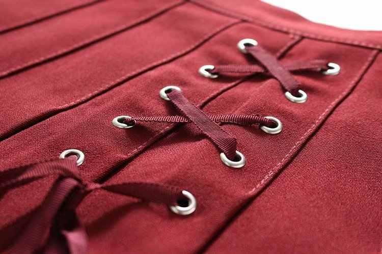 Thời trang harajuku side lace up xếp li váy Mini Váy Eo Cao Cổ Điển saia Váy Ngắn Giản Dị empire váy womens Casual