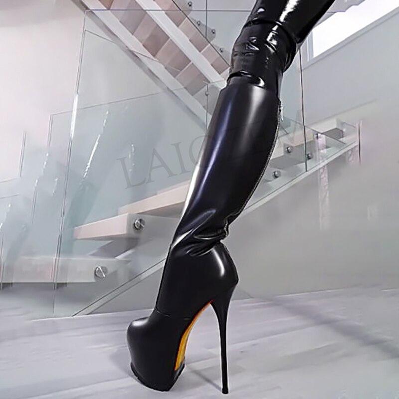 Ayakk.'ten Diz Hizası Çizmeler'de LAIGZEM SÜPER Kadın Diz Yüksek Çizmeler Su Geçirmez Stiletto Yüksek Topuklu Platform Çizmeler Zip Suni Deri Botines Mujer Büyük Boy 34  52'da  Grup 1