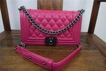 Women Bag Famous Brand Sheepskin Leather font b Handbag b font Le Boy Diamond Lattice Chain