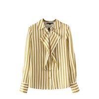 2017 Women Sweet Ruffles Striped Shirts Long Sleeves Collar Shape Pleated Blouses Ladies Office Wear Shirts