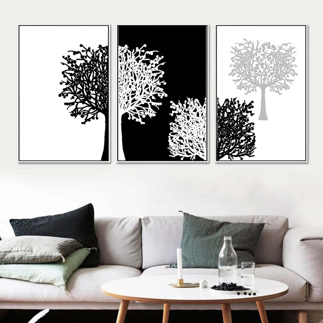 3 Piece Modern Minimalist Black White Panels Trees Canvas Painting Wall Art Decor Poster And Print