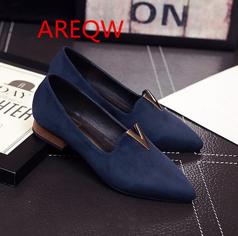 2016 new metal spring shoes in the mouth with thick with pointed casual shoes women s