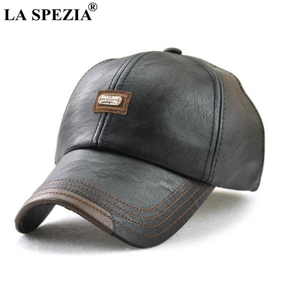 LA SPEZIA hommes casquette en cuir noir casquettes de Baseball mâle réglable classique à Long bord en cuir Pu automne hiver conduite chapeau de Baseball