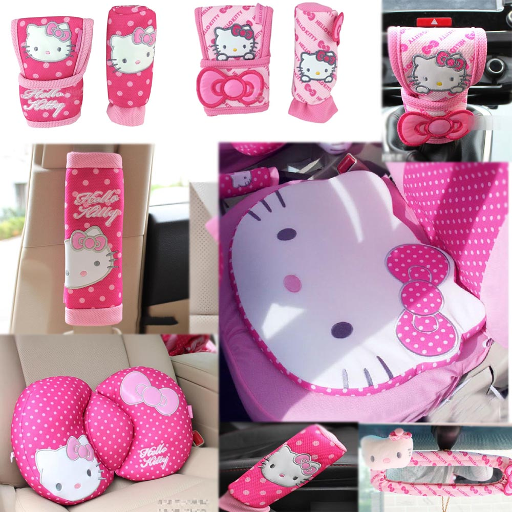 Pink Cat Styling Car Accessories Car Interior Gears Covers Seat Belts CD Cover Waist Cushion Car Steering Wheel Cover Cushion
