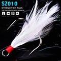 500 шт./лот новый рыболовный крючок из высокоуглеродистой стали тройные Крючки 2 #/4 #/6 #/8 #10 # черный/красный цвет рыболовный крючок с пером рыбо...