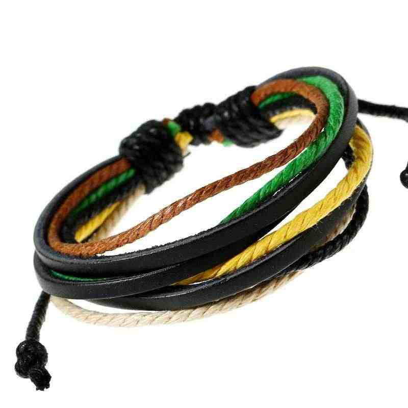Kulit Cotton Rope Adjustable Pria Wanita Murah Colourful Multilayer Gelang Hand Made Pakaian Aksesoris Gelang Perhiasan