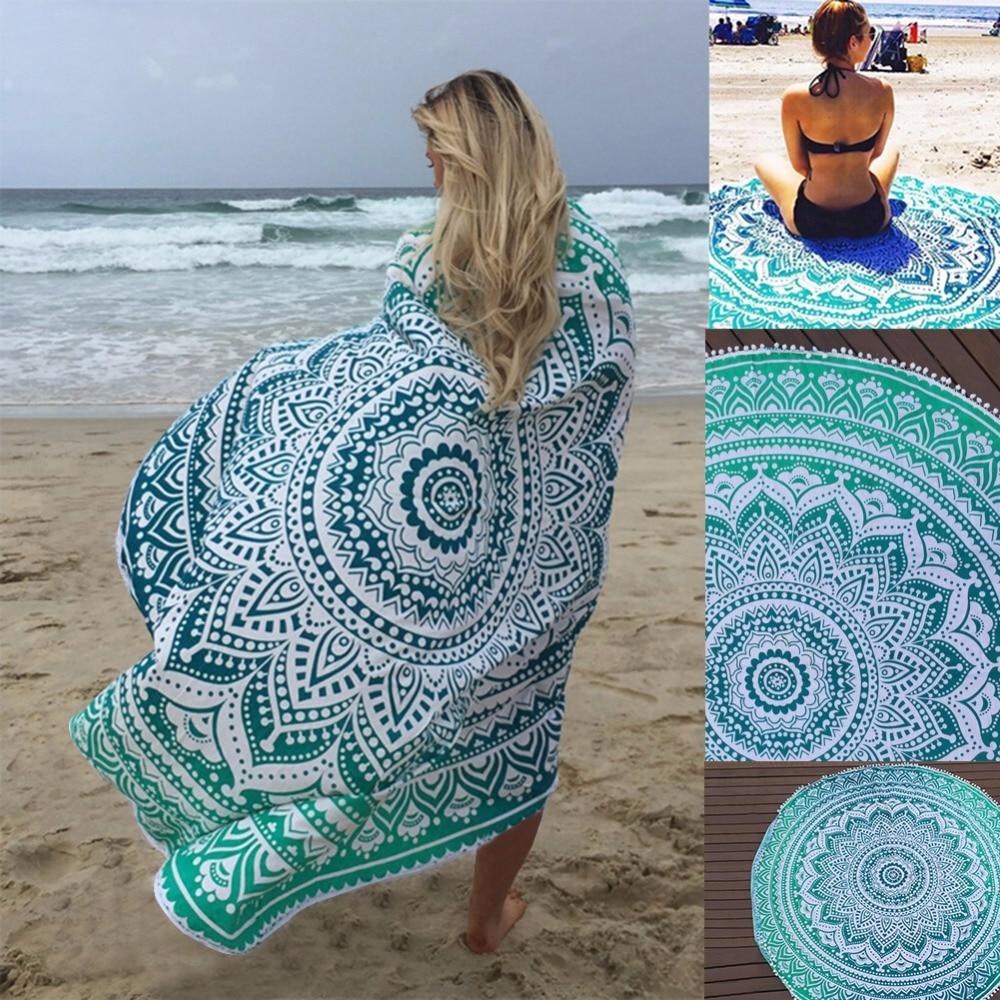 Peacock bathroom towels - Sunbath Round Beach Towels Bohemian Style Print Ball Tassel Blanket Yoga Mat Women Sunbath Dress Bath Towel
