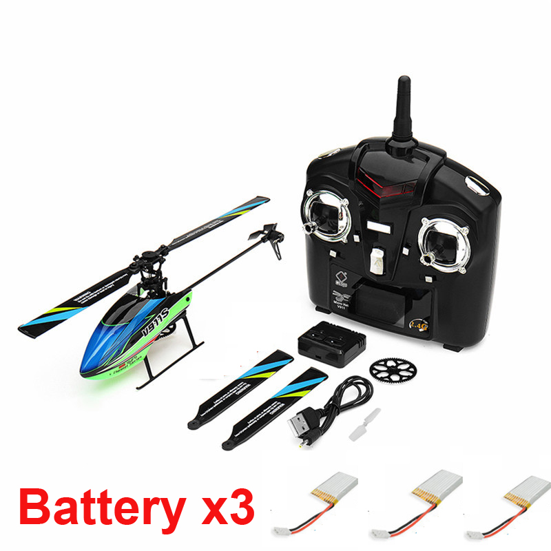 with 3 batteries New Hot Toy WLtoys V911S 2 4G 4CH 6 Aixs Gyro Flybarless