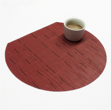 Durable Oval Table Mat PVC Woven Non-slip Bamboo Pattern Heat-resisted Placemat Home Decorations