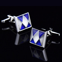 Bridegroom Wedding Party Business Men French Shirts Cuff Links Blue White Shell Opal Cufflinks Silvery Cufflink With Gift Bag circle milestone steel varnish baking cufflinks for men silvery blue pair