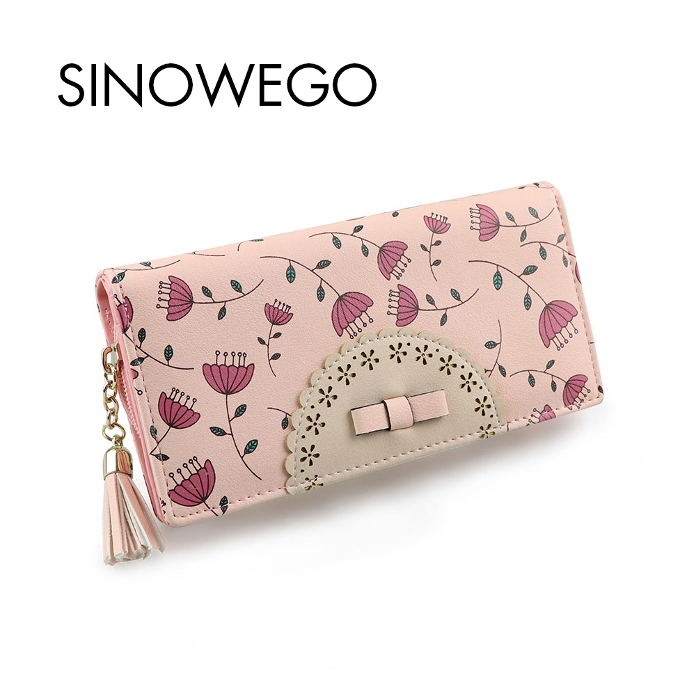 New Fashion Women Wallets Flower Leather Wallet Female Card Holder Coin Purse Woman's Wallet Women Purse Wristlet Small Wallet