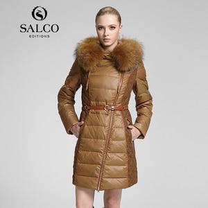 Salco 2014 женщин модели мех енота куртка