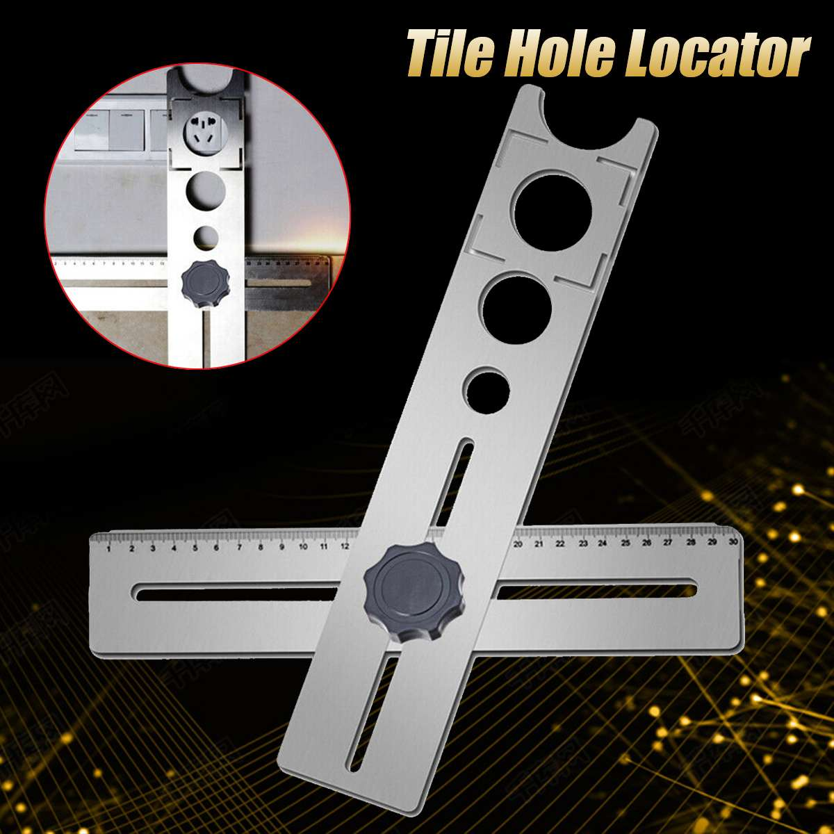 Multi-Functional Stainless Steel Ceramic Tile Hole Locator Ruler Adjustable Punching Hand Tool For House Decorated Work