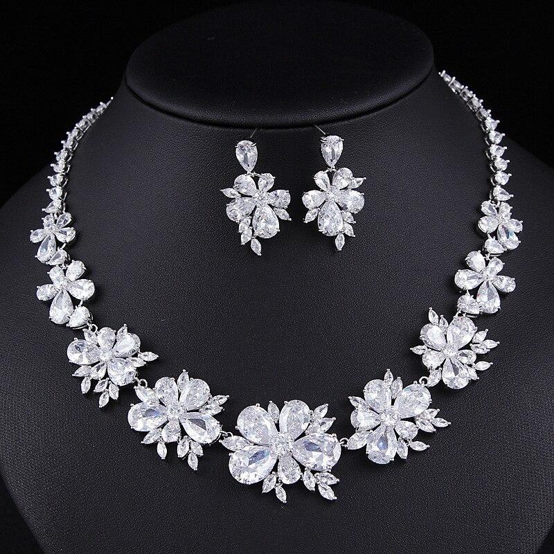 Fashion trendy flower jewelry set for Wedding stud earring necklace pendant women jewelry africa gifts J4770 trendy rhinestone flower pendant necklace for women