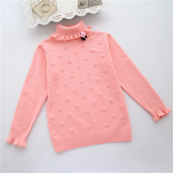 2017 New Brand Fashion Kids Clothes Girls Flower Children Sweater Girls Pullovers Girl Child Basic Turtleneck Sweaters 2-6T Baby