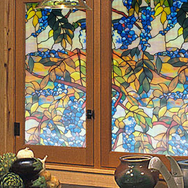 funlife decorative window film 45x100cm stained glass film grape floral plant vine stained window glass film
