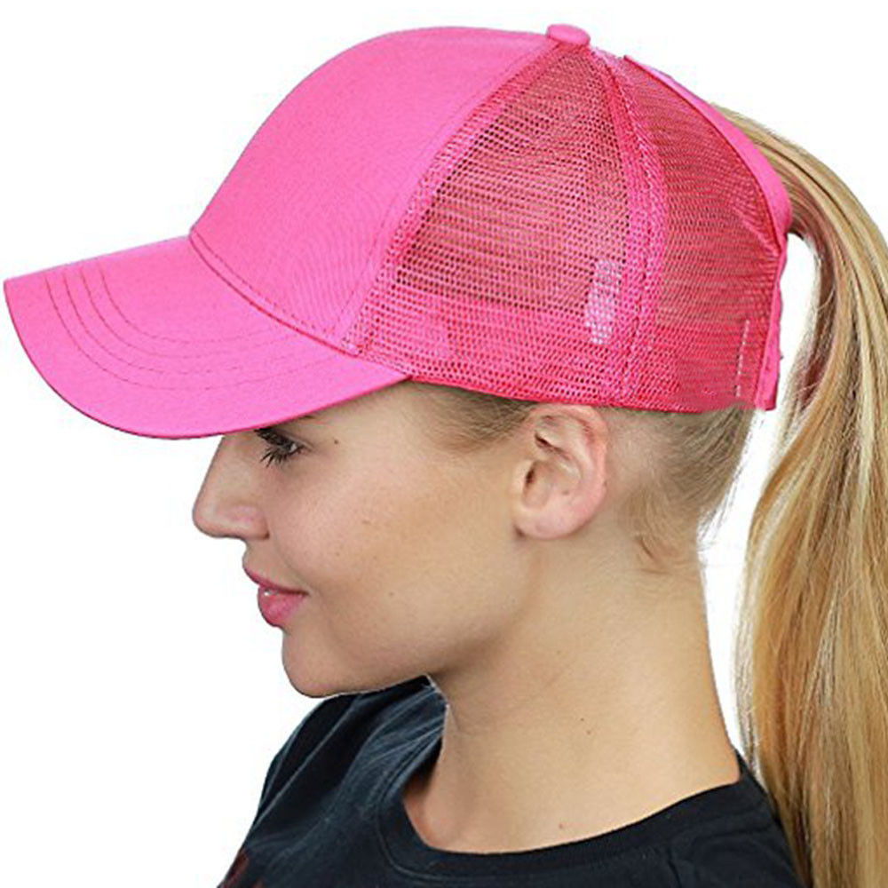 2018 Frauen Pferdeschwanz Baseball Kappe Messy Bun Hysterese Hut Sun Caps Sommer Strand Weiß Rosa Blau